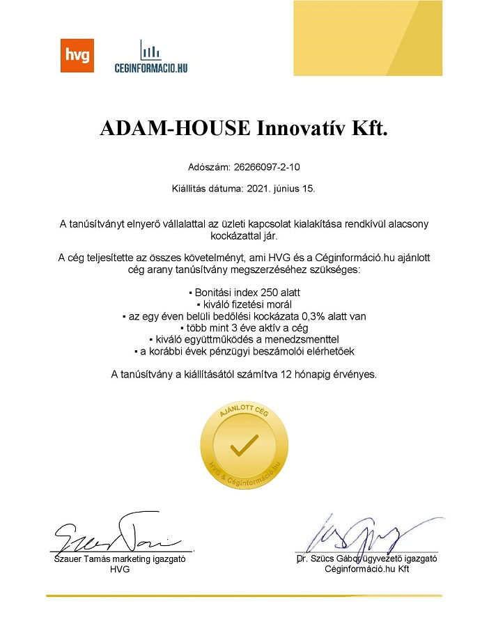 ADAM HOUSE díj 1