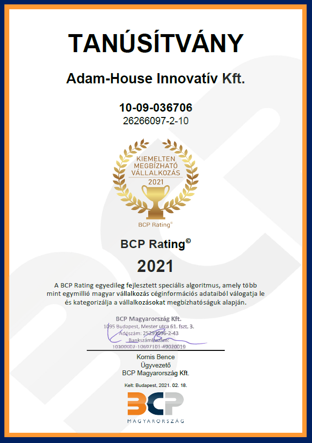 ADAM HOUSE díj 2